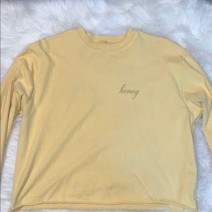 size large yellow cropped long sleeve